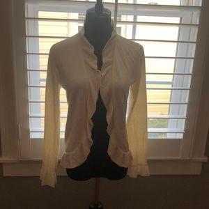 Ann Taylor Beige Ruffle Open Cardigan - size M